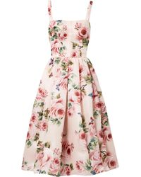 Dolce & Gabbana - Pleated Floral-print Silk-organza Midi Dress - Lyst
