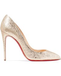 Christian Louboutin - Pigalle Follies 100 Metallic Crinkled-leather Court Shoes - Lyst