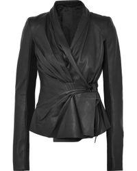 Rick Owens - Pleated Leather Wrap Jacket - Lyst