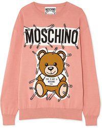 Moschino - Teddy Intarsia Cotton Jumper - Lyst