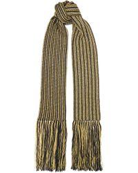 Saint Laurent - Fringed Striped Metallic Crochet-knit Wool-blend Scarf - Lyst
