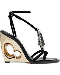 fe89fefeb910 Alexander McQueen - Embellished Suede Wedge Sandals - Lyst