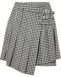 McQ - Pleated Gingham Wool-twill Wrap Mini Skirt - Lyst