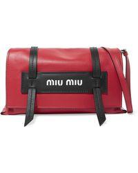 efa8152a85f0 Miu Miu Matelassé Leather Shoulder Bag in Natural - Lyst