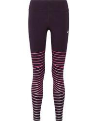 Nike - Power Epic Lux Metallic Striped Dri-fit Stretch Leggings - Lyst