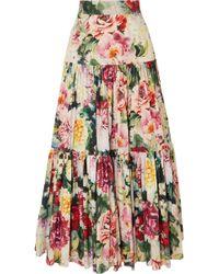 Dolce & Gabbana - Tiered Ruffled Floral-print Cotton-poplin Maxi Skirt - Lyst