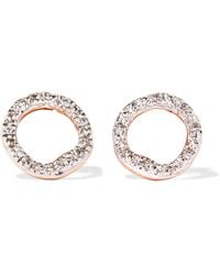 Monica Vinader - Riva Circle Rose Gold Vermeil Diamond Earrings - Lyst