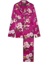 Olivia Von Halle - Lila Floral-print Silk-satin Pajama Set - Lyst
