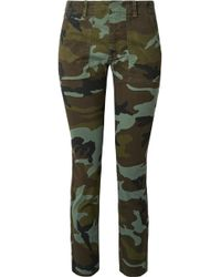 Nili Lotan - Jenna Camouflage-print Stretch-cotton Slim-leg Pants - Lyst