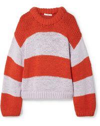 Tibi - Oversized Striped Cotton-blend Jumper - Lyst