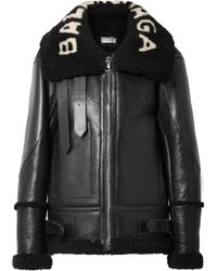 Balenciaga - Le Bombardier Oversized Shearling Jacket - Lyst