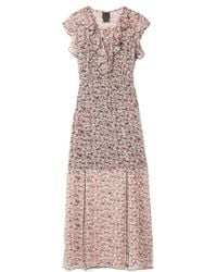 Anna Sui - Scattered Flowers Ruffled Floral-print Silk-chiffon Midi Dress - Lyst