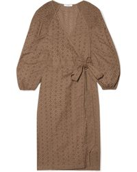 Marysia Swim - Pink Sands Broderie Anglaise Cotton Wrap Dress - Lyst
