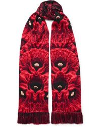 Alexander McQueen - Tasseled Fringed Wool-blend Jacquard Scarf - Lyst