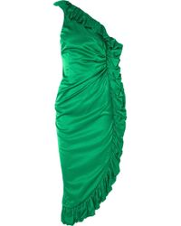 Attico - One-shoulder Ruffled Hammered Cotton-blend Satin Dress - Lyst