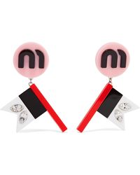 Miu Miu - Silver-tone, Plexiglas And Crystal Clip Earrings - Lyst
