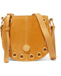 See By Chloé - Kriss Mini Eyelet-embellished Textured-leather And Suede Shoulder Bag - Lyst