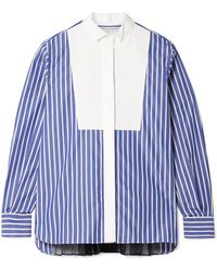 Sacai - Piqué And Organza-trimmed Striped Cotton-poplin Shirt - Lyst