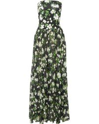Caroline Constas - Marianna Strapless Floral-print Stretch-jersey And Voile Maxi Dress - Lyst