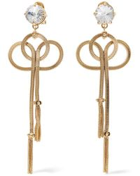 Prada - Gold-tone And Crystal Clip Earrings - Lyst