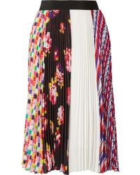 MSGM - Printed Plissé-crepe Skirt - Lyst
