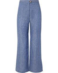 Mara Hoffman - Arlene Striped Organic Linen-twill Flared Pants - Lyst