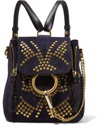 Chloé - Faye Mini Studded Suede And Leather Backpack - Lyst