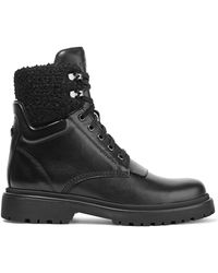 Moncler | Patty Shearling-trimmed Leather Ankle Boots | Lyst