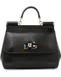 Dolce & Gabbana - Sicily Medium Embellished Lizard-effect Leather Tote - Lyst