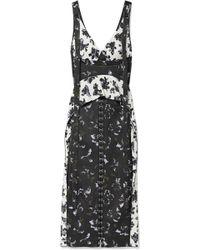 Proenza Schouler - Ruffled Floral-print Satin-crepe Midi Dress - Lyst