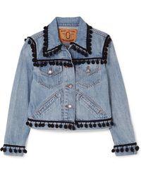 Marc Jacobs | Cropped Pompom-embellished Denim Jacket | Lyst