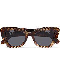 Fendi - Cat-eye Printed Tortoiseshell Acetate Sunglasses - Lyst