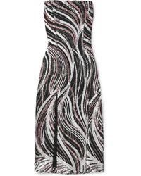 Halpern - Strapless Sequined Tulle Midi Dress - Lyst