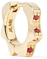 Alison Lou - Stelle Huggy 14-karat Gold Ruby Earring - Lyst
