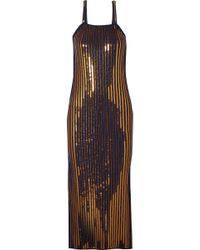 Cedric Charlier - Sequined Ribbed Stretch-knit Midi Dress - Lyst