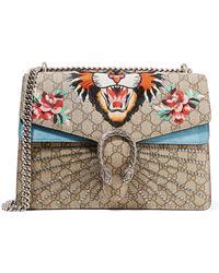 fbfd83080d15 Gucci - Dionysus Medium Appliquéd Printed Coated-canvas And Suede Shoulder  Bag - Lyst