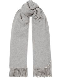 Lyst - Acne Studios Canada Skinny Fringed Wool Scarf in Natural 08567e55a14