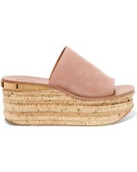 Chloé - Camille Suede Wedge Sandals - Lyst