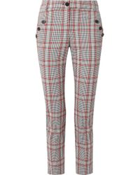 Veronica Beard - Farrow Checked Cotton-blend Slim-leg Trousers - Lyst