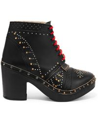 Burberry - Studded Leather Ankle Boots - Lyst
