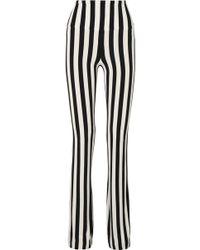 Norma Kamali - Striped Stretch-jersey Bootcut Trousers - Lyst