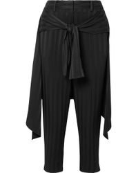 Hellessy - Sentry Cropped Tie-detailed Jacquard Straight-leg Pants - Lyst