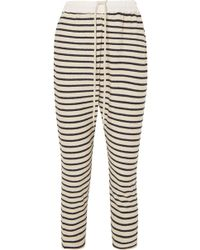 Bassike - Striped Cotton-terry Track Pants - Lyst