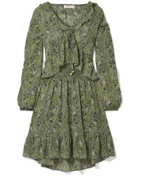 MICHAEL Michael Kors - Ruffled Printed Chiffon Mini Dress - Lyst
