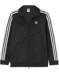 adidas Originals - Striped Cotton-blend Jersey Jacket - Lyst