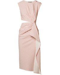 Jason Wu - Cutout Striped Seersucker Midi Dress - Lyst