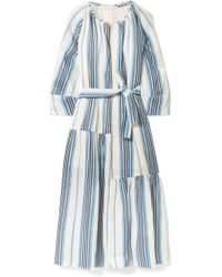 Apiece Apart - Stella Striped Linen And Silk-blend Midi Dress - Lyst