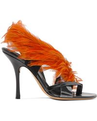 63b882dbf43 Dries Van Noten - Feather-embellished Pvc And Leather Sandals - Lyst