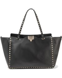 Valentino - The Rockstud Leather Trapeze Bag - Lyst