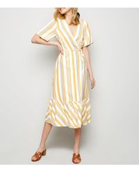 54c3ba2c24 New Look White And Blue Stripe Button Front Midi Dress in White - Lyst